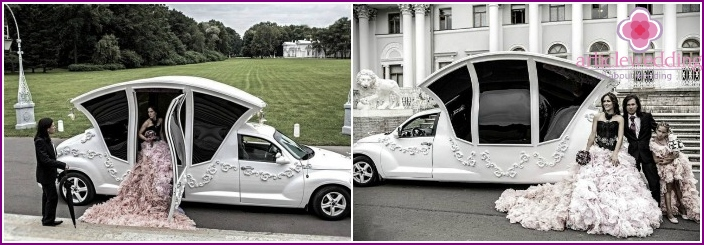 Fancy cars, carriages for wedding