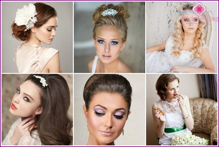 Make-up and hairstyle for the bride's wedding