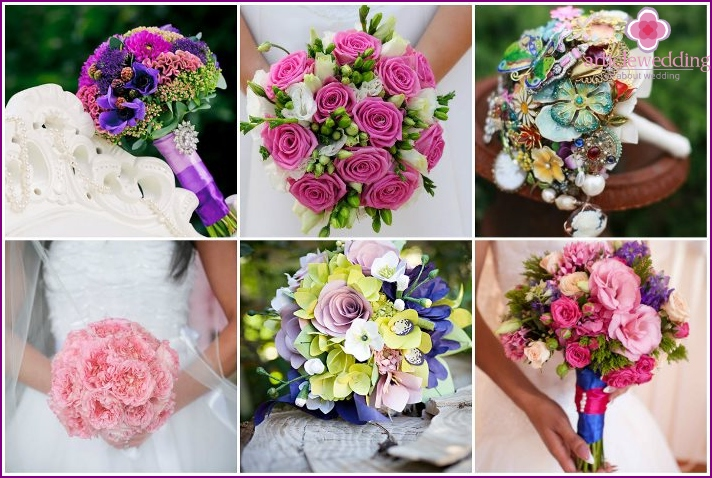 A selection of wedding bouquets, cause trouble for the soul