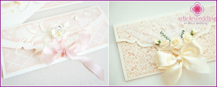 Beautiful wedding money envelopes
