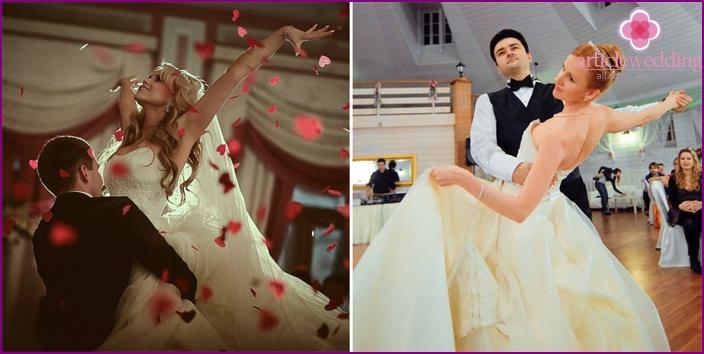 Passionate newlyweds dance