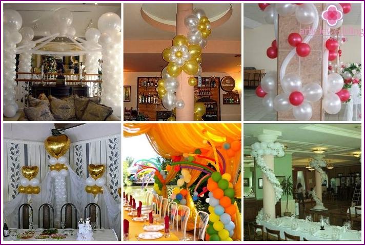 Decoration balls columns in a wedding hall