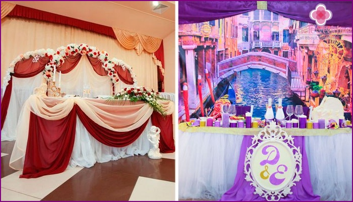 Decoration of wedding table cloth