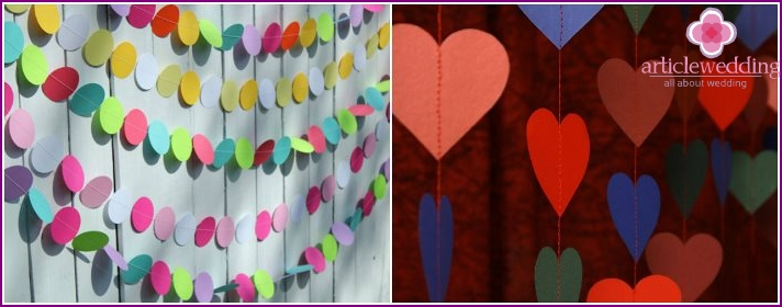 Paper garlands for wedding decor