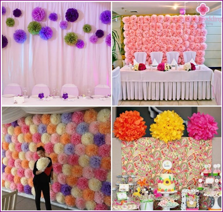 Pompons for wall decor for the wedding