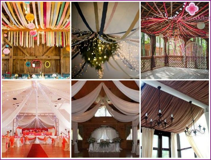 Feeds on the ceiling wedding hall looks original