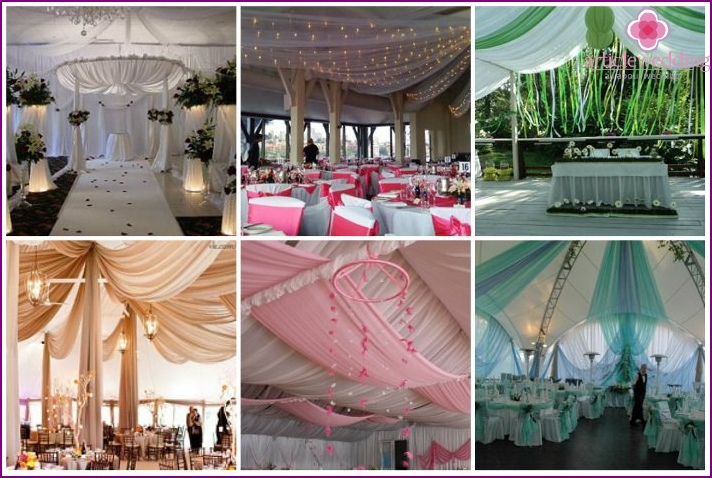 The ceiling is made of fabric give romance wedding celebration