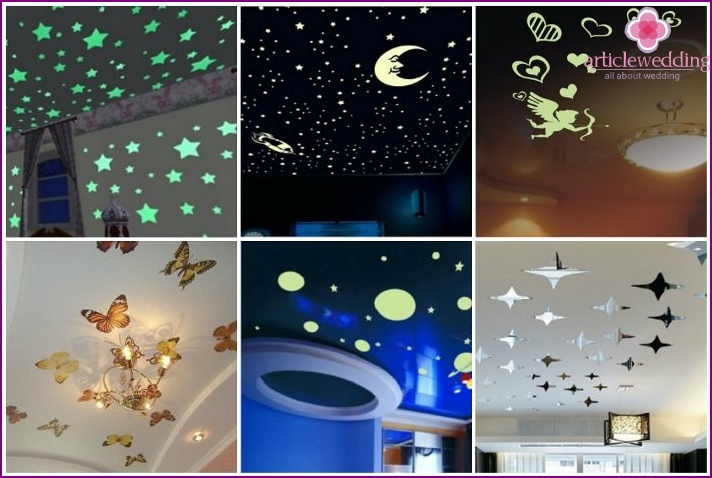 Vinyl stickers add individual style ceiling