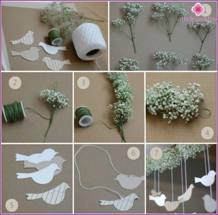 Workshop to create garlands with pigeons