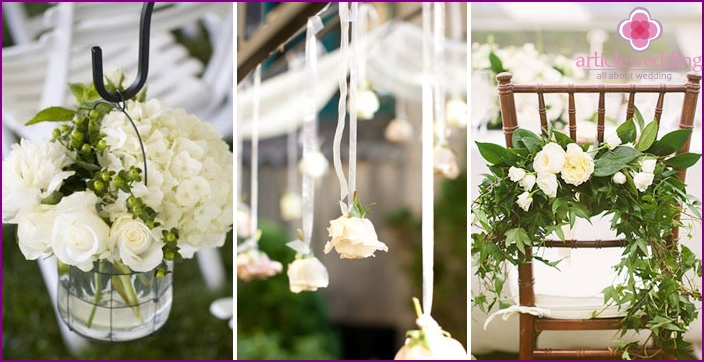 Rose of white color in the decoration of the banquet hall