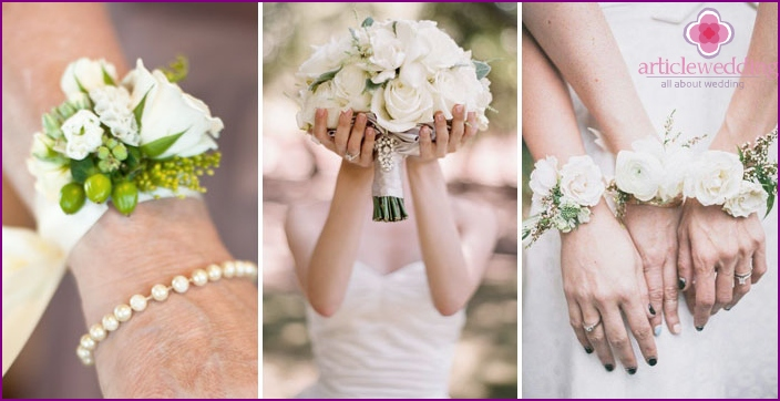 Applications of white roses in wedding day