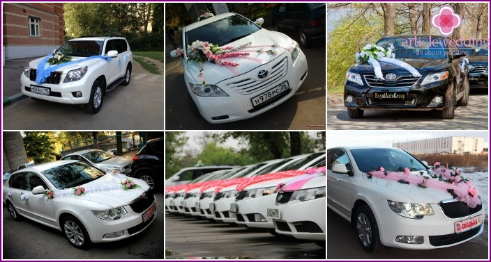 Cloth decoration of wedding cars