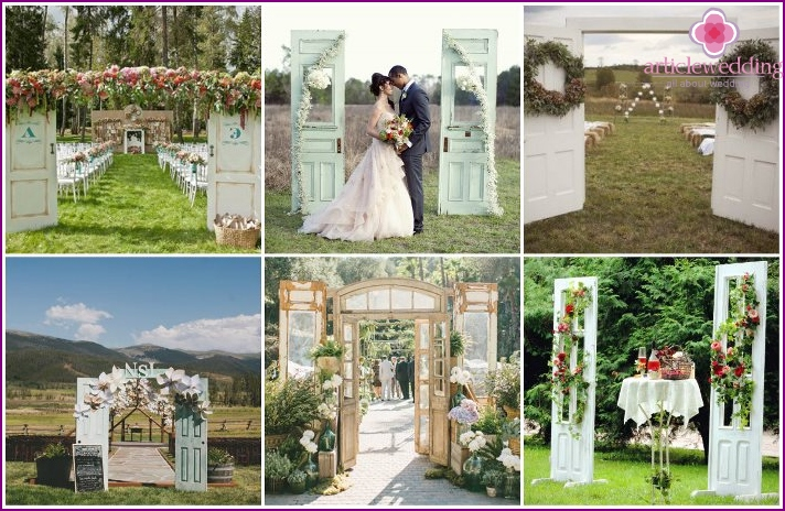 Doors instead of a wedding arch