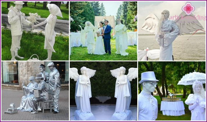 Living sculpture at a wedding instead of arches