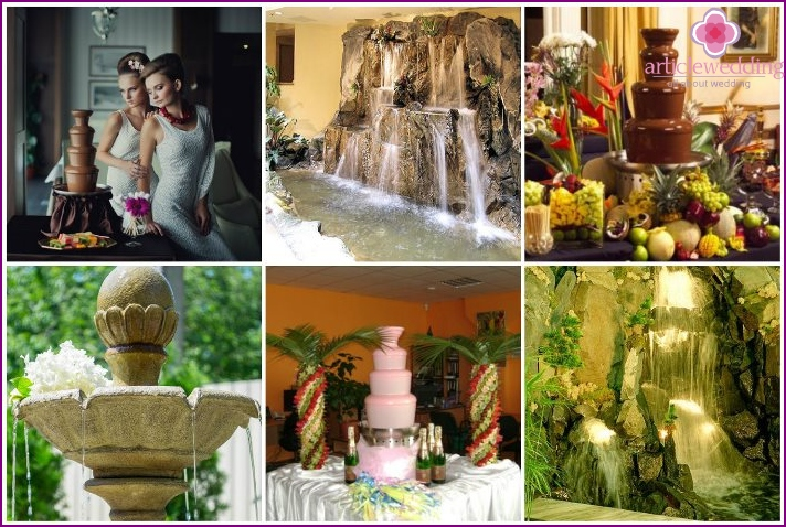 Decorative fountain for a wedding celebration