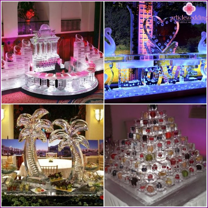 Ice bar and buffet table for a wedding