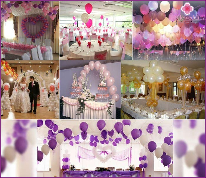 Decoration of wedding table with balloons