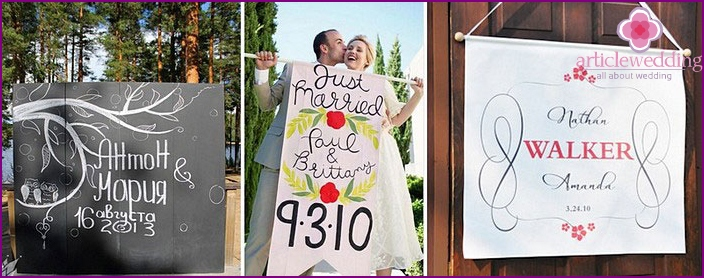 Wedding banners with the names of