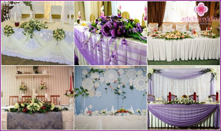 Decoration of wedding table flowers