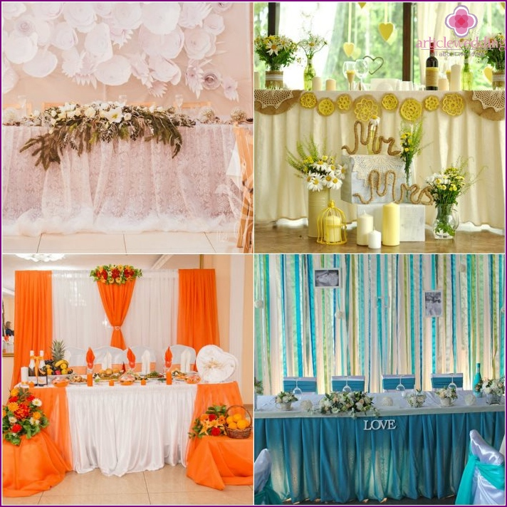 Cloth table decoration bride and groom