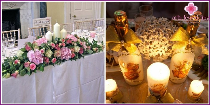Candles for wedding table decoration newlyweds