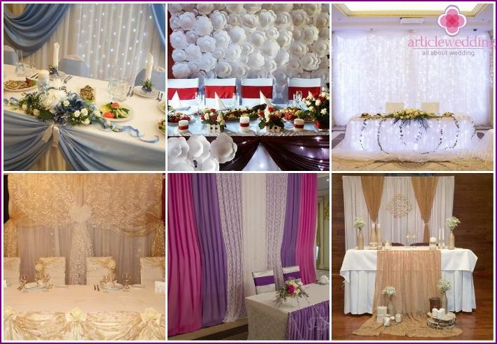 Options decor backdrop newlyweds table