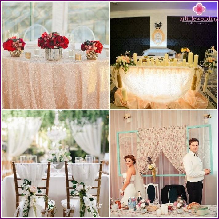 Exclusive design of the wedding the newlyweds presidium