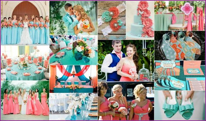 The combination of coral and Tiffany's wedding