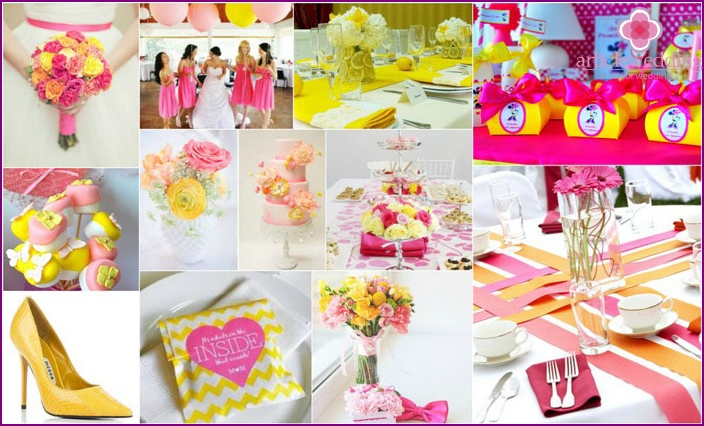 Wedding with pink and yellow shades