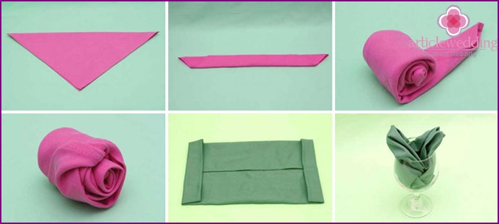 How to make a rose out of the napkins with their hands