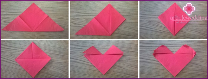 Instructions to create hearts from napkins