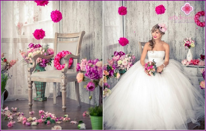 Wedding Room Decor flowers and pompoms