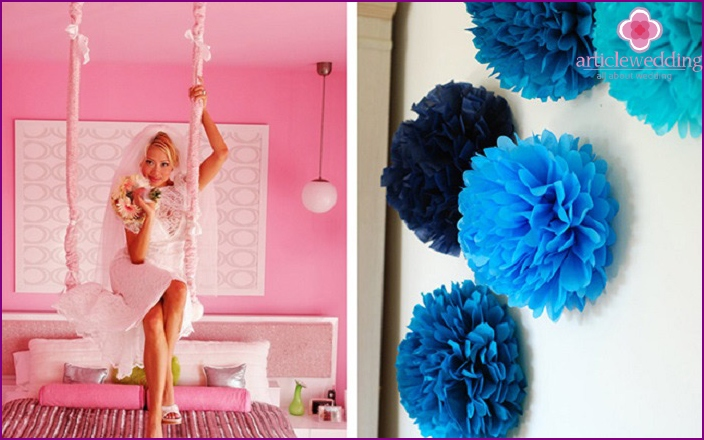 Wedding Room Decor: rope swing and pompoms