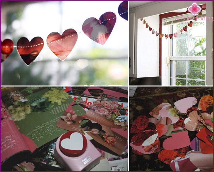 Making garlands wedding with the help of magazine paper
