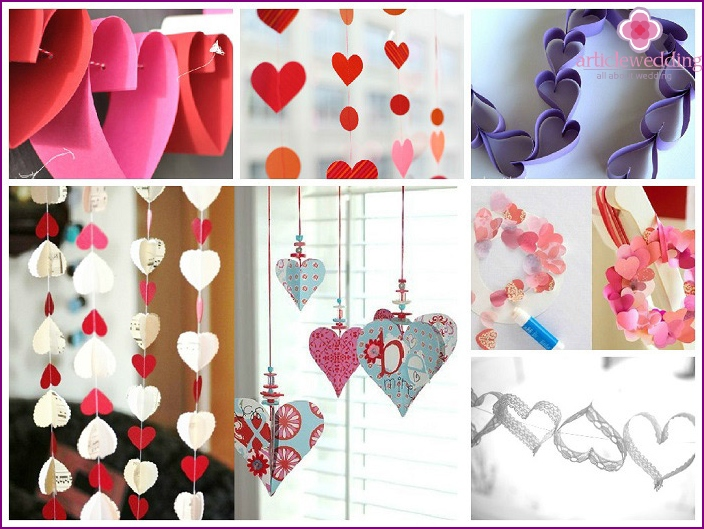 Paper garland-heart for the bride room
