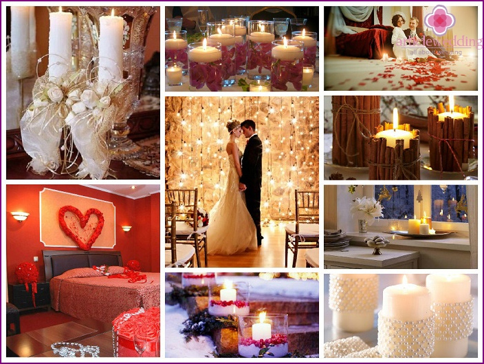 Wedding decoration of the room with candles