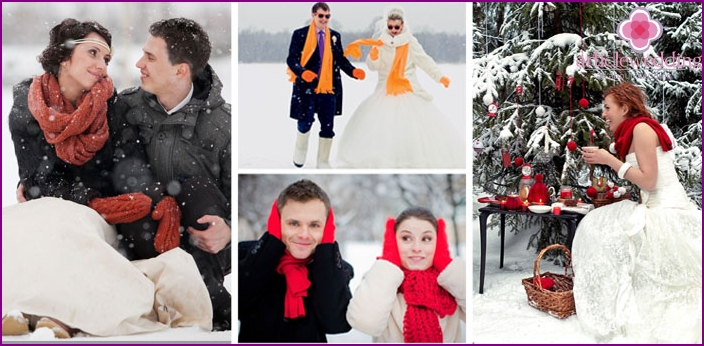 Scarf and mittens on winter wedding photo