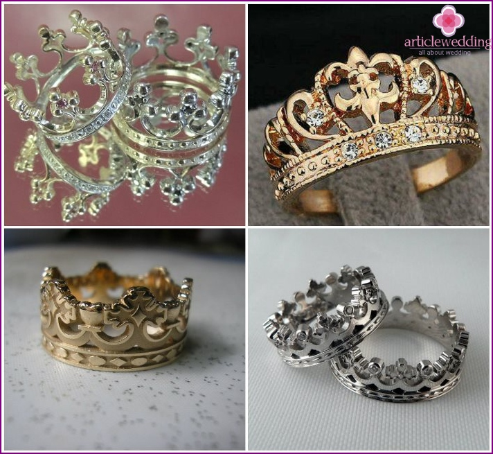 Pair wedding rings-Crown
