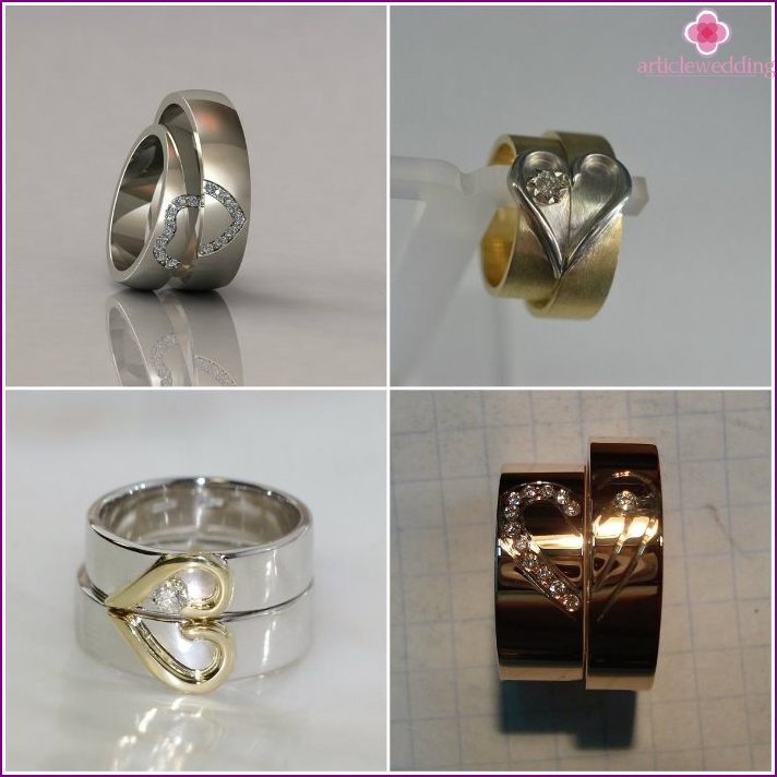 Jewelry rings for newlyweds with the halves of the heart