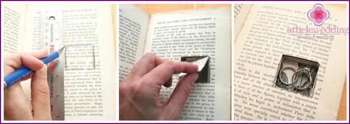 Cut a hole in the book for wedding rings