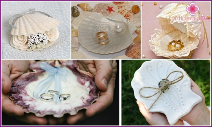 Attribute for wedding rings made of seashells