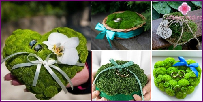 Cushion for the rings with moss