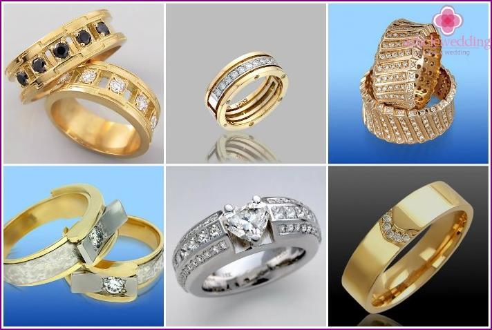 Wedding rings, inlaid stones