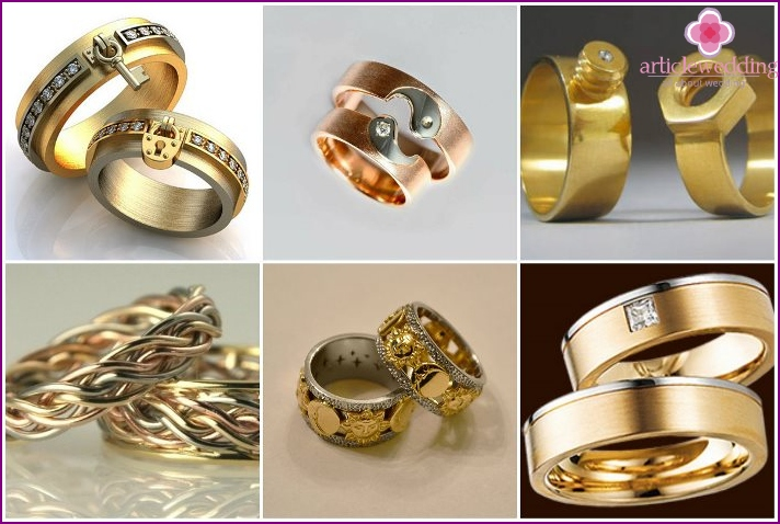 Paired original wedding rings
