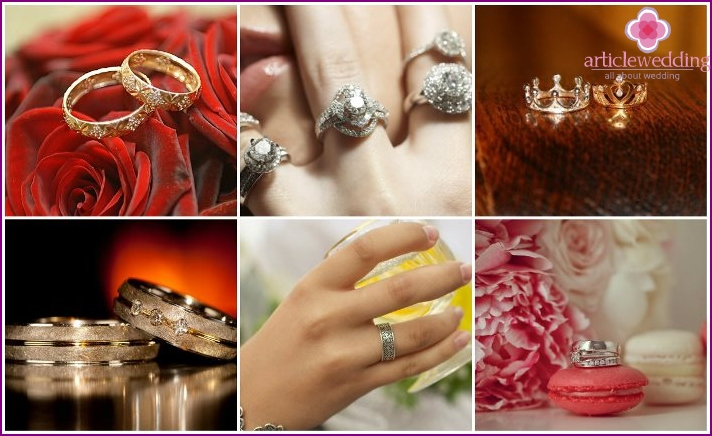 A variety of original wedding rings
