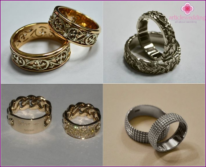 Paired accessories newlyweds with swirls and stones