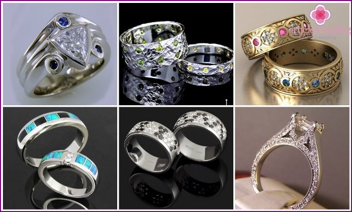 Stones in the design of wedding rings