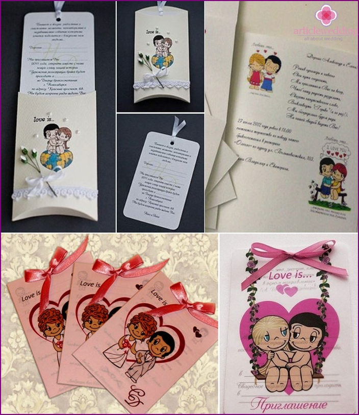 Samples of invitations to Love is a wedding