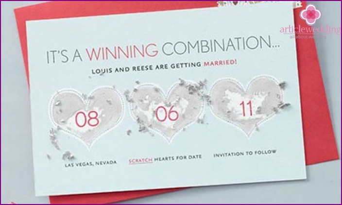 Wedding invitation in the form of a lottery ticket