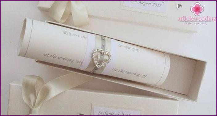 Invitation card on wedding